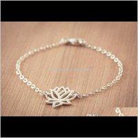 Очаровательные украшения Drop Доставка 2021 30 шт. - B013 Мода Золотой Sier Lotus Tiny Lotos Flower Prom Yoga Petal Bracelets для свадебных подарков XEB5H