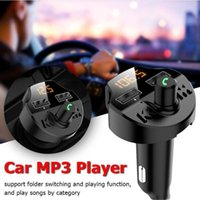 T66 블루투스 5.0 FM 송신기 무선 핸즈프리 오디오 수신기 자동 MP3 플레이어 2.1A 듀얼 USB 빠른 충전기 자동차 액세서리