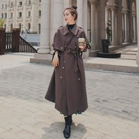 Women's Trench Coats Spring Korean Style Loose British Temperament Minimalist Design Sense Mid-Length Windbreaker Jacket A