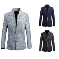 Винтаж пиджак куртка мужчины китайский стиль бизнес случайный человек blazer костюм куртка воротник тонкий мужчина 5xl