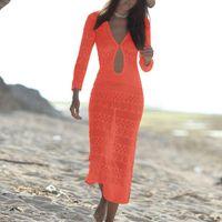 Sexy Knitted Women Cover Up 2021 Summer Beach Dress Crochet Hollow Out Sarongs Swim Suit Beachwear Tunics Women's Swimwear