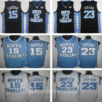 En Kaliteli 15 Vince Carter UNC Jersey Kuzey Carolina Mavi Beyaz Dikişli NCAA Koleji Basketbol Formaları Nakış Şort Takım Boyutu S-2XL