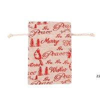Sacos de algodão de Natal de linho colorido 10x14 13x18cm Casa partido Muslin Doces Presentes de Jóias Embalagem De Embalagem Sacos de Draorstring Bolsas de Presente Bolsas HWF8565