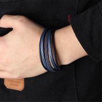 Charm Bracelets Charmsmic Navy Blue Leather Sets For Mens Magnetic Clasp Powerful Armband Handmade Braided DIY Jewelry Wholesale