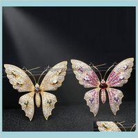 Pins Schmuck Rosa Schmetterling Broschen Großhandel Hochzeitsanzug Kore mit cz stein kreative nette insekt brosche pin frauen luxus tropfen liehen