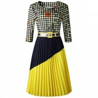Женщины Весна Осень Офис Рабочие платья Плюс Размер Винтаж Распечатать Красочное точечное Платья Платье Элегантная вечеринка Midi Vestidos Повседневная