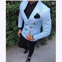 Tailored Slim Fit 2 Piece Light Blue Suit Men Tuxedo double breasted Groom Blazer mens Wedding Suits Terno Masculino Jacket+PantREAN