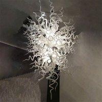 Moderne Pendelleuchte LED Glühbirnen Hand Schlagglas Kronleuchter Beleuchtung 32 von 48 Zoll Weiß und Schwarz Farbe Benutzerdefinierte Kronleuchter für Villa Big House Kunstdekoration