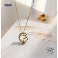 Sterling Silver Gold 14k Plated Moon Deer Pendants Necklace Zircon Necklaces For Women Gift Fine Jewelry Japanese Style Chains