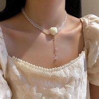 Collares colgantes Sweet White Rose Flower Sarten for Women Crystal Beads Cadena Larga Bodas Joyería