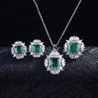 Earrings & Necklace 3PCS Luxury 925 Silver Color Green Cubic Zirconia Jewelry Sets For Women Emeralds Pendant Necklaces Stud Wedding Rings