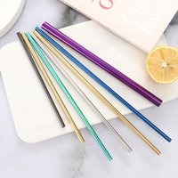 Durable Stainless Steel Drinking Straw Curve Bent Straight Colorful Metal Straws Siutable For Beer Fruit Juice Drink KKB7009