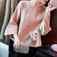 Ethnic Clothing Retro Satin Chinese Style Women 3 4 Sleeve Cheongsam Tops Autumn Winter Vintage Button Blouse Casual Print Floral Shirt