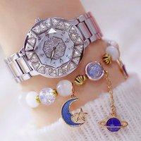 Наручные часы BS Bee Сестра Жемчужина Полный бриллиант Дамы Часы Серебряные Нержавеющая Сталь Водонепроницаемый Кварц изысканный Relogio Feminino