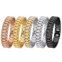 Moda quente 15mm Mens de luxo Mens Womens Band Bracelete Hiphop Ouro Prata Aço Inoxidável Watchband Strap Cuff Bangles Jóias