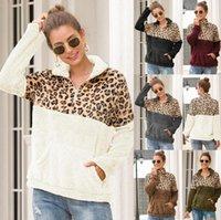Warm Autumn 2021 Women Pockets Hoodies Leopard Printed Zippers Teddy Fur Sweatshirts Turn-down Collar Lady Fall Pullovers Women's &