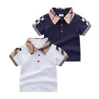 Baby Boys Down-down воротник футболки летние дети с коротким рукавом джентльмен стиль детский хлопок повседневные топы тройники мальчик рубашки детская одежда