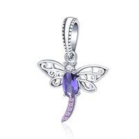 100% 925 Sterling Silver Silver Dragonfly Pendentif Perle Pourpre Zircon Animal Fit Bracelet Européen pour Femmes Cadeau de Noël
