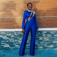 Royal Blue Jumpsuit Prom Dresses High Collar Long Sleeve Satin Outfit Evening Party Gowns Floor Length Trouse Cocktail Dress