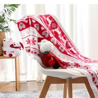 Coral Fleece Red Xmas Snow Joyous Deer Year Chistmas Blanket Sofa Bed TV Gift 100*80CM Blankets & Swaddling