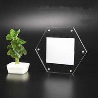 Acrílico Cristal PO Sinal Suporte Creative Wall Hexágono Absorção Magnética Não Perfuração Pasta Poster Quadro Frames