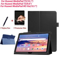 PU Cuir Folio Slim Slim Stand Cover pour Huawei MediaPad T5 T3 M5 Lite 10,1 pouce