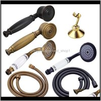 Heads Bronze Black Antique Gold Chrome Brass Telephone Style Bathroom Water Saving Hand Held Shower Head Spray 15M Hose 200925 Danm Hfu9V