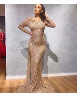 Gold Sequined Long Sleeve Mermaid Evening Gowns 2020 Black Girls Prom Dress Evening Wear Gown robes de soirée vestidos de fiesta