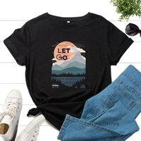 Women's T-Shirt Graphic T-Shirts Printed Shirt Tee Short Sleeve Summer Tops Female Tees Clothes Let's Go Hiking Camping Travel