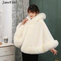 Wraps & Jackets JaneVini High Quality White Hooded Fur Stole Bridal Faux Jacket Furry Wedding Bolero Winter Warm Shawl Wrap Women Prom Cloak