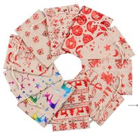 Bolsas de algodón de la Navidad de lino de colores 10x14 13x18cm Home Party Muslin Candy Regalos Regalos de joyería Embalaje Bolsas con cordón Bolsas de regalo Bolsas NHE8285