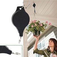 Polea de la planta retráctil Ajustable Colgante de la flor Cesta Cesta de gancho para canastas de jardín Potes y aves Alimentador para exteriores NHF6374