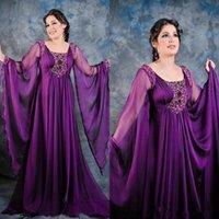 POET POET PLUS POET MANCHE LONGUE PERLÉE NOUVEAU SCOOP PURPLE Mousseline de soie Purple Long formelle Robe mère Dubaï arabe Kaftan Robes de soirée Abaya