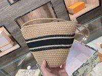 retro perla corchete bolso de las mujeres clásicos tejer paja vegetal cesta bolsas de la canasta Bolso de la banda de la raya