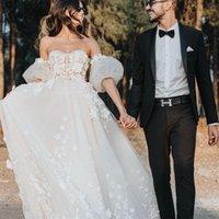 2022 A Line Wedding Dress Lace Floral Appliques Boho Bridal Gowns with Removable Sleeves Illusion Summer vestido de novia