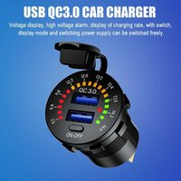 36W QC 3.0 USB Charger Quick Charger Motorcycle Dual USB Charger Socket LED Flicker with button switch for Auto Track DVR GPS Car