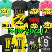 Homens adultos + Kit Kids Dortmund Borussia 20 21 Home Home Jerseys Soccer 110th Aniversário 2020 2021 Terceiro Goleiro GK Blackout Esporte Camisa de Futebol