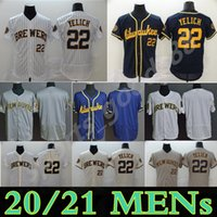 Personalizzato 2021 Milwaukee Jersey 22 Christian Yelich 8 Ryan Braun 24 Jesus Aguilar 39 Corbin Burbins 6 Lorenzo Cain Brewers Maglie da baseball