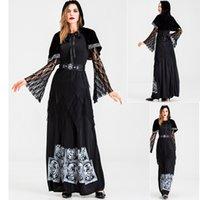 Thema Kostüm Erwachsene Frauen Gothic Halloween Kostüm Schwarz Mantel Hexe Roben Cosplay Tarot Weibliche Wizard Kostüm Tod Vampir Spitze lang d