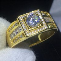 Wedding Rings 2021 Solitaire Male Ring 10KT Yellow Gold Filled Engagement Bands For Men 5mm Zircon Cz Jewelry Size 7-13