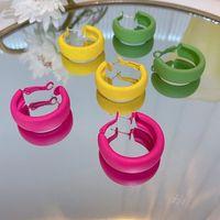 Korean Statement Earrings for Women Candy Color Geometric Hoop Earrings Cute 2022 Trend Fashion Jewelry Gifts Yellow Green Rose