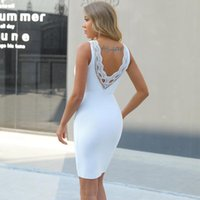 Ocstrade White Bandage Dress 2021 Arrival Backless Lace Bodycon Women Summer Sexy Party Club Birthday Outfits Casual Dresses