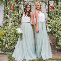 2021 Bohemian Country Bridesmaid Dresses Cheap White Top Mint Sage Tulle Skirt Two Pieces Maid Of Honor Dresses Gowns for Wedding Guest