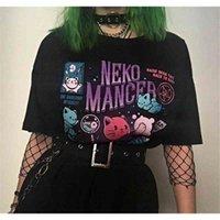 Hahayule yf neko mancer t-shirt unissex bonito grunge estética grunge preto tee gótico vestuário branco camisa 210406