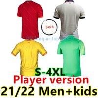 21 22 spielerversion fußball jersey home rot rot rot torhüter grün schwarz thailand mohamed fußballhemden männer + kinder kit