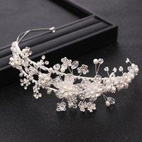 Braut Haarschmuck Silber Farbe Blume Kopfschmuck Strass Kristall Pearl Krone Hochzeit Tiara Prinzessin Stirnband Schmuck Clips Barret