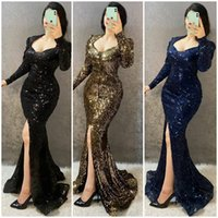 2021 Plus Size Arabic Aso Ebi Mermaid Sexy Sequined Prom Dresses High Split Long Sleeves Evening Formal Party Second Reception Gowns Dress ZJ305