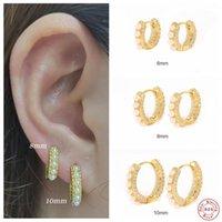 Hoop & Huggie ROMAD 925 Sterling Silver 6 8 10mm Earrings Luxury Pearl Beads And Zircon Mosaic Cartilage Pendiente