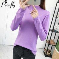 Women's Sweaters PEONFLY 2021 Autumn Winter Half Turtleneck Pullover Sweater Women Jumper Long Sleeve Knitted Female Ladies Purple