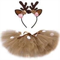 Braune Hirsch Mädchen Tutu Outfits Frauen Rock Flauschige Baby Mädchen Party Dance Röcke für Kinder Halloween Weihnachten Elch Rentier Kostüm